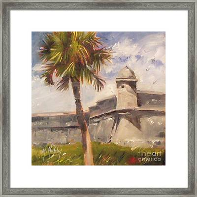 Palm At St. Augustine Castillo Fort Framed Print by Mary Hubley