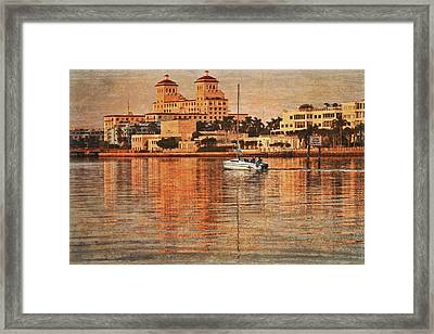 Palm Beach At Golden Hour Framed Print by Debra and Dave Vanderlaan