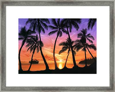 Palm Beach Sundown Framed Print by Andrew Farley