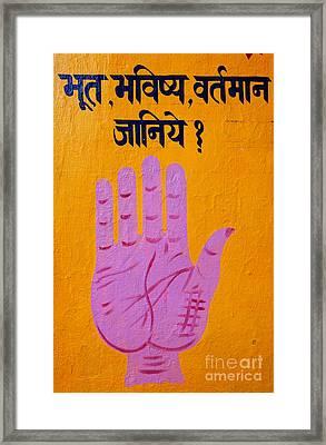 Palm Reading Sign In Rishikesh Framed Print by Robert Preston