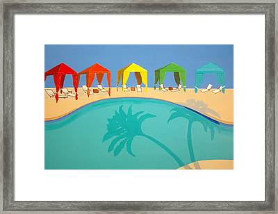 Palm Shadow Cabanas Framed Print by Karyn Robinson