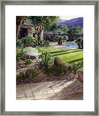 Palm Springs Backyard Framed Print by Janet King