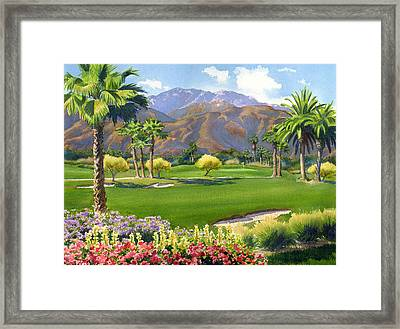 Palm Springs Golf Course With Mt San Jacinto Framed Print by Mary Helmreich