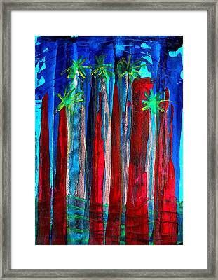 Palm Springs Nocturne Original Painting Framed Print by Sol Luckman