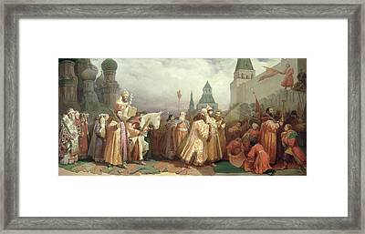 Palm Sunday Procession Under The Reign Of Tsar Alexis Romanov Framed Print by Viatcheslav Grigorievitch Schwarz
