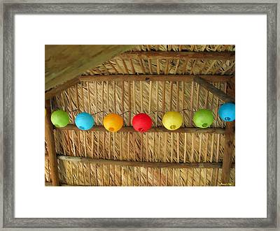 Palm Thatch And Party Lights Framed Print by Buzz  Coe
