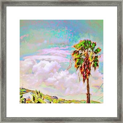 Palm Tree Against Pastel Sky - Square Framed Print