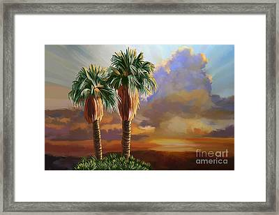 Framed Print featuring the painting Palm Tree Cabo Sunset by Tim Gilliland