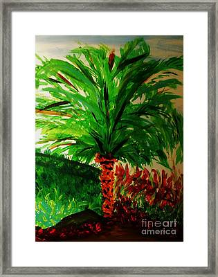 Palm Tree In The Garden Framed Print by Marie Bulger