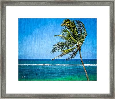 Palm Tree Swaying Framed Print by TK Goforth