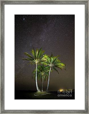 Palm Trees And Milky Way Galaxy Hanalei Bay Kauai Framed Print by Dustin K Ryan