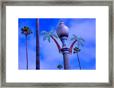 Palm Trees Lamp Post Framed Print by Garry Gay