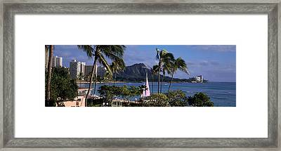 Palm Trees On The Beach, Diamond Head Framed Print by Panoramic Images