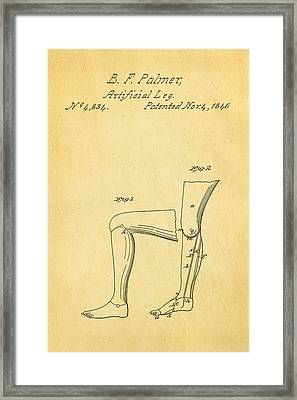 Palmer Artificial Leg Patent Art 1846 Framed Print by Ian Monk