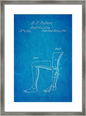Palmer Artificial Leg Patent Art Blueprint 1846 Framed Print