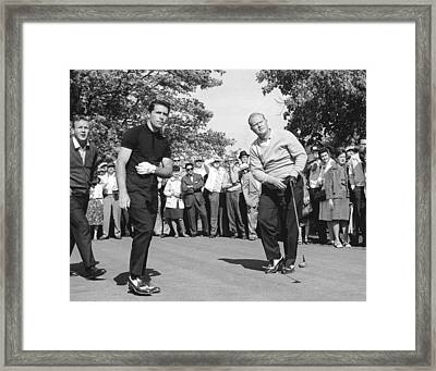 Palmer, Player And Nicklaus Framed Print by Underwood Archives