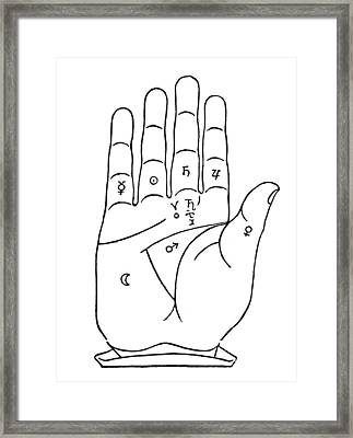 Palmistry Chart, 1480 Framed Print by Granger