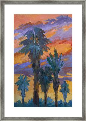 Palms And Sunset Framed Print by Diane McClary