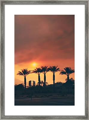 Palms On Fire Framed Print by Laurie Search