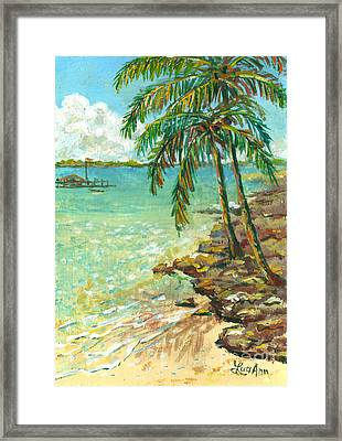 Palms On Point Of Rocks Framed Print