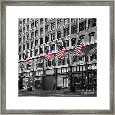 Palomar Hotel And Old Navy In Downtown San Francisco - 5d19799 - Black And White And Partial Color Framed Print by Wingsdomain Art and Photography