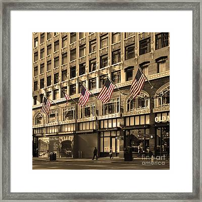 Palomar Hotel And Old Navy In Downtown San Francisco - 5d19799 - Sepia And Partial Color Framed Print