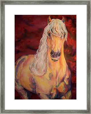 Framed Print featuring the painting Palomino Ruby  by Christy  Freeman