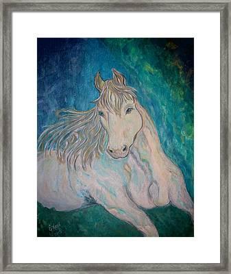 Framed Print featuring the painting Palomino Thunder by Ella Kaye Dickey