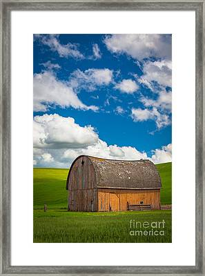 Palouse Barn And Clouds Framed Print by Inge Johnsson