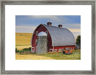 Palouse Barn - Est. 1919 Framed Print by Mark Kiver