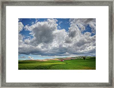 Palouse Country Barn With Storm Clouds Framed Print