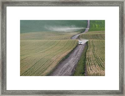 Palouse Dust Trail Framed Print by Latah Trail Foundation