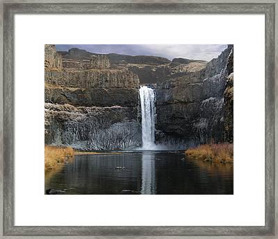 Palouse Falls In The Winter Framed Print