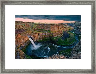 Palouse Falls Sunset Framed Print by Dan Mihai