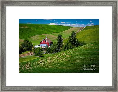 Palouse Farm Landscape Framed Print by Inge Johnsson