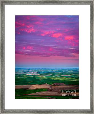 Palouse Fiery Dawn Framed Print by Inge Johnsson