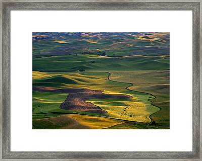 Palouse Shadows Framed Print by Mike  Dawson