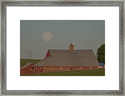 Palouse Solstice Moon Framed Print by Latah Trail Foundation