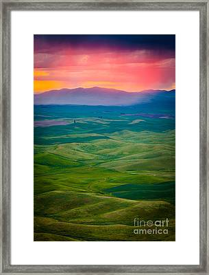 Palouse Storm At Dawn Framed Print by Inge Johnsson