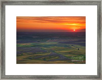Palouse Sunset Framed Print by Mike  Dawson
