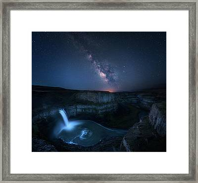Palouse Waterfall And The Milky Way Framed Print