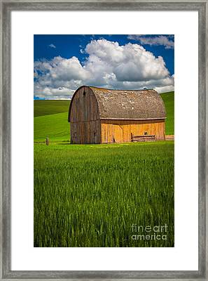 Palouse Yellow Barn Framed Print by Inge Johnsson