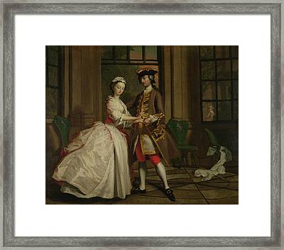 Pamela And Mr B. In The Summerhouse Framed Print by Joseph Highmore