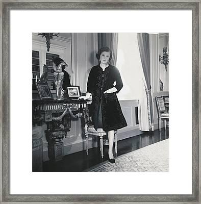 Pamela Harriman With Her Hand In The Pocket Framed Print