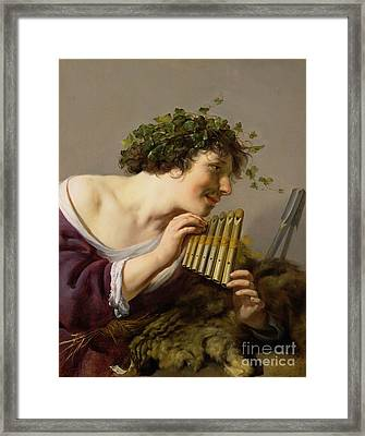 Pan Playing His Pipes Framed Print by Paulus Moreelse