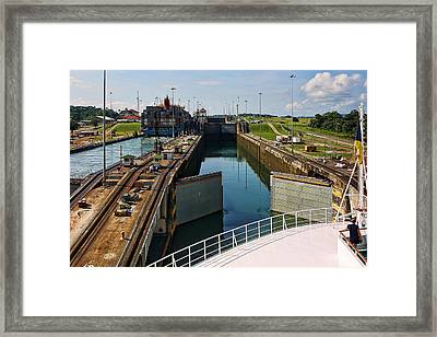 Panama Canal Locks With Ships Framed Print