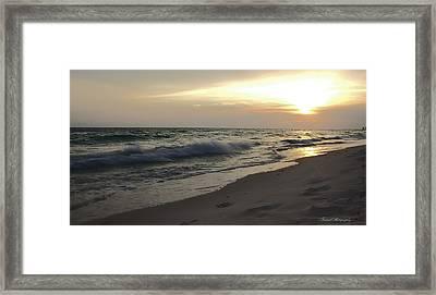Panama City Beach Golden Sunset Framed Print by Debra Forand