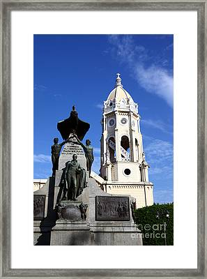 Panama City Bolivar Monument And San Francisco Church Framed Print by James Brunker