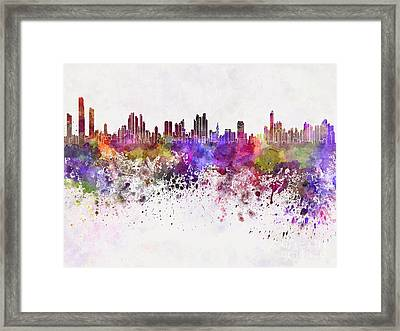 Panama City Skyline In Watercolor Background Framed Print