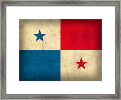 Panama Flag Vintage Distressed Finish Framed Print